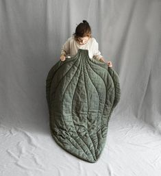 Linen leaf mat-blanket - 100% natural linen - dusty green / natural grey / dark grey color - hand embroidery - 189cm x 140cm (74.4 х 55.12) - pleasant to touch and to sleep on - can be used like a cover or like a mat - we also have smaller version of this leaf 95cm x 70cm (15.7 х 9.1) - dark