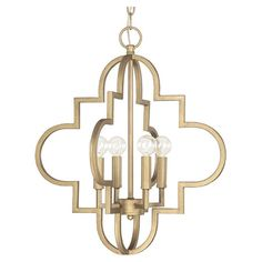 Cast a warm glow over your entryway or dining room with this eye-catching pendant, showcasing an open quatrefoil silhouette and brushed gold finish....