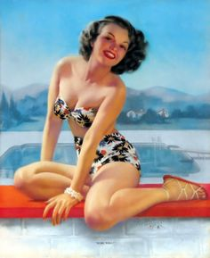 Brown & Bigelow Rare Pin-Up Print Zoe Mozert Bikini Clad Cutie Sure Will! Pin Up Vintage, Vintage Art, Vintage Style, Vintage Ladies, Colorado Springs, Pin Up Girls, June Bride, Rolf Armstrong, Retro