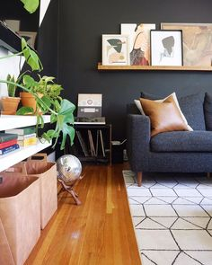 Neutral, black living room