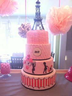 Paris themed cake for 5 and 3 year old sisters