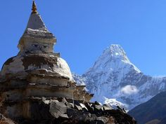 Beautiful view of a Nepalese monastery with Ama Dablam in the background.