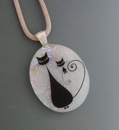Glass Cat Pendant Mom and Me Oval Fused Glass Pendant by GlassCat
