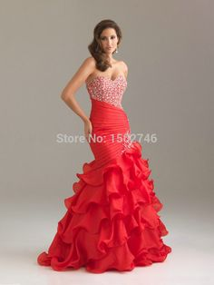 Red gown for wedding.