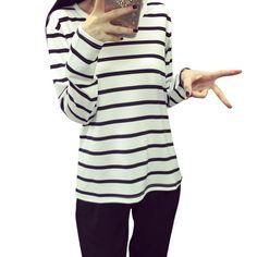 Women Long Sleeve Loose Black/White Blouse Stripe Pattern Cotton Blend O-neck Tops Plus Size M-XXL