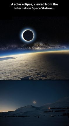 "hugsfromhugo: "" A solar eclipse and the Milky Way seen from the ISS "" I am practically in tears over how beautiful this image is. Also this is not a solar eclipse and Milky Way as seen from the ISS. Cosmos, Earth And Space, Fotografia Macro, International Space Station, Iss International, Carl Sagan, To Infinity And Beyond, Interstellar, Solar Eclipse"