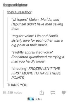 soMEONE FINALLY SAID IT. Don't get me wrong, Frozen was a great movie, but y'all need to stop over glorifying it