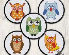 FIVE Owl Cross Stitch Patterns (collection#2),  modern cross stitch pattern, needlecraft