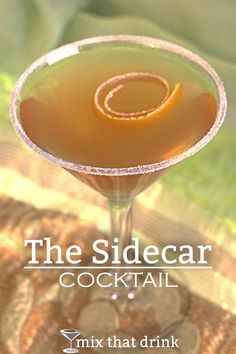 The brandy based Sidecar cocktail probably dates back to the end of World War II. It's a refreshing citrus drink, featuring orange liqueur and lemon juice. It's lovely for after dinner or for a night out. (end of summer cocktails) Craft Cocktails, Summer Cocktails, After Dinner Cocktails, Cocktail Parties, Dinner Parties, Party Drinks, Recipe For Teens, Cocktails, Drink
