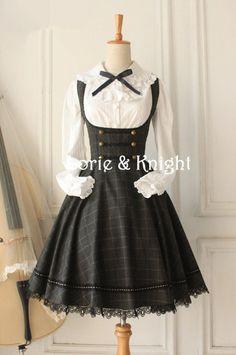 Vintage xadrez escocês estilo faculdade de lã mistura JSK Lolita vestido Hepburn…
