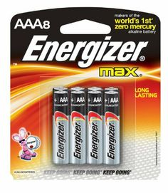 Energizer Max Alkaline AAA, 8-Count by Energizer. $6.37. Energizer Max Batteries, premium alkaline AAA, 8 Pack are designed for long-lasting performance in the broadest range of device application.It is an environmentally responsible battery that can be disposed of with regular household trash. Great/reliable portable power that maximizes fun, productivity and safety.