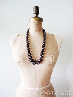 vintage beaded necklace  rum raisin long bead by shopREiNViNTAGE, $ 28.00
