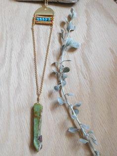 boho necklace, geometric necklace, southwest necklace, turquoise necklace, beaded necklace, chrysoprace necklace, gold, FREE SHIPPING by kathywelshart on Etsy