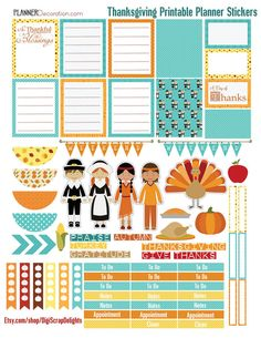 50% Thanksgiving November Printable Planner Stickers EC planner, Happy Planner, Filofax, Kikki K, Plum Paper Planner, Etc.. Happy Planner #plannerlove #planneraddict