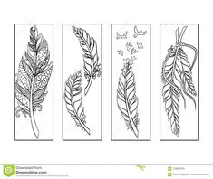 Feather Bookmarks Coloring Page Stock Illustration - Illustration of customize, four: 110027978