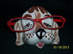 Vintage Hand Painted Ceramic Dog Glasses by TheYOLOSubmarine, $4.00