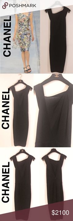 Chanel Semi Sheer Knit Dress ✨New Listing I love this dress! So, why haven't I worn it... trying to wear less black, which is hard to do as it's the go-to color in the city. From the cruise collection, it is composed of 100% cashmere and can be worn year round.  Sleeveless, semi sheer bodice Double knitted pencil skirt Discrete CC logo on hip Deep back  V neck , zipper & eye/hook closure FR size 34, can fit size 2 to 4 US Runway version of dress shown in first pic. Simply beautiful! Perfect…