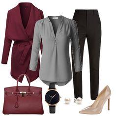 93ccc65fad Capsule Wardrobe Winter work outfit with Pearl earrings Black watch  Burgundy bag Beige pumps Grey blouse Burgundy coat Black pants - Women work  outfits