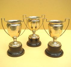 Vintage 3 Old PRE-WAR FOOTBALL TROPHIES Trophy 1930s League Silver Plated Cup