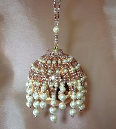 Beaded Christmas ornament cover/completed by ElegantPerle on Etsy