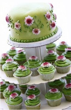 I love the idea of having a cake top with matching cupcakes bellow for the wedding.  That way the couple still has the top tier to have on the anniversary.