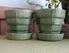 Two McCoy Green Planters with Underplates by LazyYVintage on Etsy