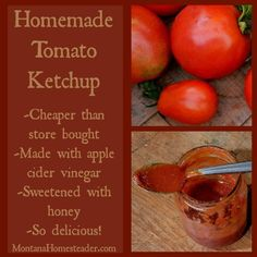 Once you've tasted homemade ketchup, you'll never want to go back to store bought! This homemade ketchup recipe is made with fresh, homegrown tomatoes, healthy apple cider vinegar and sweetened with raw honey- so delicious!! | Montana Homesteader