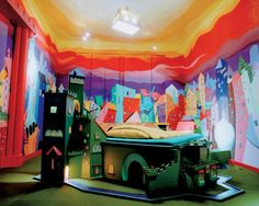 Extraordinary Hotel Rooms Around the World. Castle Room at the Propeller Island City Lodge – Berlin, Germany. A castle bed built into your own private mini-golf course by the German artist Lars Stroschen. Kitsch, Kids Bedroom Designs, Kids Room Design, Bedroom Ideas, Bedroom Decor, Bedroom Office, Decor Room, Modern Bedroom, Wall Design