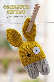 Rattle bunny two-legged by Lucia Lanukas Free crochet pattern