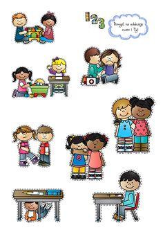 Obrazki do klasyfikowania dobrych i złych zachowań. Social Stories, Kindergarten Teachers, Asd, Worksheets, Preschool, How To Plan, Comics, Kids Education, Ideas