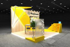 Exhibition stands 2019 (Maybank - on Behance Exhibition Display Stands, Exhibition Stall, Exhibition Booth Design, Exhibit Design, Exhibition Ideas, Standing Signage, Expo Stand, Web Banner Design, Ads Creative