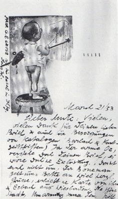 Postcard from George Grosz to John Heartfield, 1958