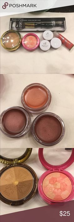 NWT makeup bundle of 7 #303 NWT bundle includes a physicians formula pressed powder bronzer A Physicians Formula blush pressed powder A Sonia Kashuk blush brush  3 ELF lip pots 1 tubes of ELF lip gloss All items are new never used mixed Makeup