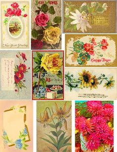 Free Collage Sheets by Art and imagesbykim: Free: Floral Postcards Digital Collage Sheet