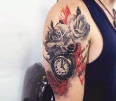 Letter S Tattoo, Tattoo Script, Script Lettering, Flower Neck Tattoo, Rose Flower Tattoos, Steve Butcher Tattoo, Pocket Watch Tattoos, Marvel Tattoos, Devil Tattoo