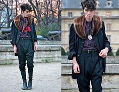 "Lanvin Silk Tee, Givenchy Saroual, H Leggings, Titimadam Tiger Necklace, Mdkn Rhino Ring, Vintage Vest & Fur, Burgundy Silk Scarf | ""Andromeda"" // My Wardrobe Shop (by Matthias Cornilleau) | LOOKBOOK.nu      Woo totes cute outfit"