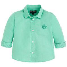 Camisa lino manga larga Verdes