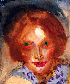 Portrait of a Woman (also known as Portrait of a Woman, Auburn Hair). Emil Nolde