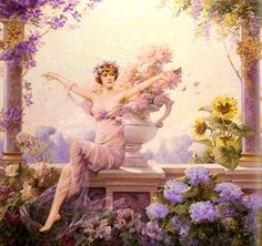 Louise Abbema  Title: Flora Date: 1913  Buy this painting's premium quality canvas art print from ModArty.com #art, #canvas, #design, #painting, #print, #poster, #decoration