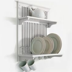 IN STOCK: best prices on NOVEL - Kitchen Plate Bowl Cup Display / Wall Rack Shelves with Hooks - White - choose between 2 Kitchen wall unit Plate Racks In Kitchen, Plate Rack Wall, Kitchen Wall Units, Kitchen Wall Shelves, Wall Racks, Rack Shelf, Kitchen Storage, Kitchen Decor, Shelf Wall