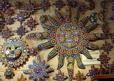 Huichol Beaded Art, Puerto Vallarta, Mexico. Amazingly tedious & detailed craftsmanship. Almost have to see up close & in person to really appreciate their beauty.
