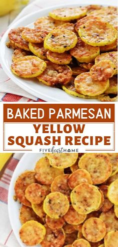 Baked Parmesan Yellow Squash Recipe is a crowd favorite! This easy and delicious spring or summer recipe only needs two ingredients - yellow squash and grated Parmesan. An easy spring or summer recipe that is great for sharing! Save this and try it! Side Dish Recipes, Veggie Recipes, Vegetarian Recipes, Dinner Recipes, Cooking Recipes, Healthy Recipes, Summer Vegetable Recipes, Dessert Recipes, Summer Squash Recipes