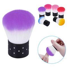 Hnm 1 개 소프트 네일 청소 브러쉬 네일 브러쉬 네일 아트 매니큐어 도구 네일 먼지 청소기 아크릴 및 UV 젤 6 색