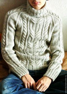 Купить Мужской теплый свитер со жгутом - вязание на заказ, вязание спицами, вязание, свитер