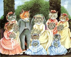 Victorian cat wedding    Victorian Cats, Susan Herbert, Antique / ...   Victorian Clip art