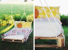 I love this idea of a hanging bed within the garden and even more as it is made from a repurposed pallet ! The tutorial to make this pallet swing bed is Hanging Pallet Beds, Pallet Swing Beds, Diy Hanging, Diy Swing, Pallet Swings, Pallet Daybed, Pallet Lounge, Diy Home, Home Decor