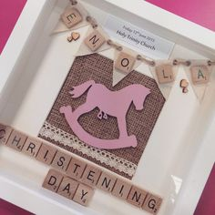 Personalised birthday box frame birthday frame personalised gift rocking horse theme personalised scrabble art frame christening baby shower gift present keepsake baby girl new born pink negle Gallery