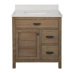 Home Decorators Collection Stanhope 31 in. W x 22 in. D Vanity in Reclaimed Oak and Engineered Stone Vanity Top in Creamed Coffee with White Sink - The Home Depot 30 Inch Bathroom Vanity, 30 Inch Vanity, Rustic Bathroom Vanities, Bathroom Vanity Tops, Vanity Sink, Bath Vanities, Bathroom Furniture, Bathroom Ideas, Rustic Furniture