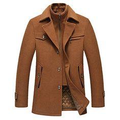 78eade42850 New Elstrue Winter Warm Men s Business Woolen Trench Jacket Overcoat Pea  Coat Mens Fashion Clothing.