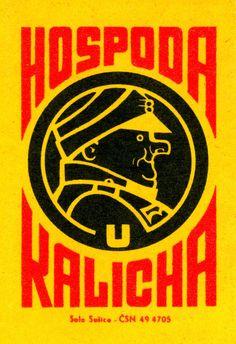 Hospoda Kalicha - Great design Matchbox label from Czechoslovakia around 1960